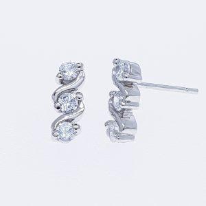 Earrings cz rin ต่างหูเพชรสวิส เพชรcz ต่างหู โรงงานผลิตเครื่องประดับ เพชรสังเคราะห์ E604